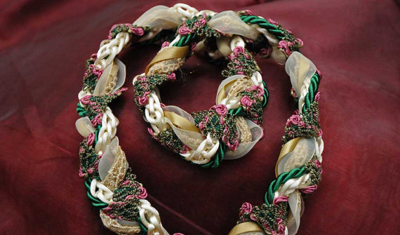 handfasting cord in gold cream and green satin and lace