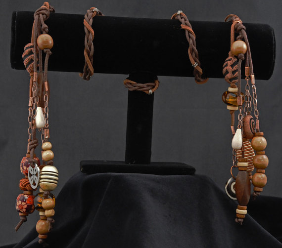 Handfasting cord made from faux leather cord, entwined with suedette, decorated with handmade embellishments