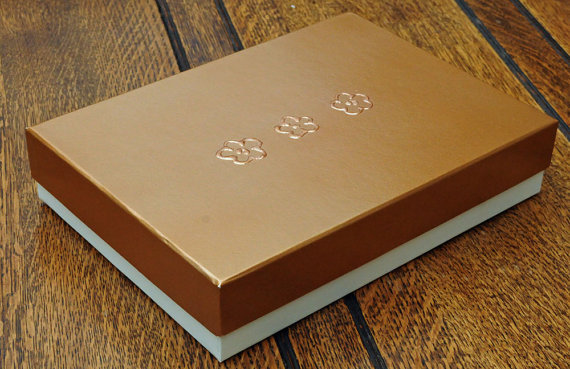 A5 Keepsake presentation gift box. Ivory colour card box with satin metallic bronze finish lid. Hand painted flower detail and plush lining