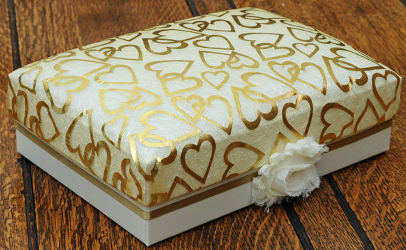 A5 Luxury Keepsake Box, ivory coloured with gold fabric padded lid and interior. Ideal for weddings or special gifts