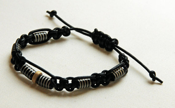 Black mens shambala bracelet, braided from leather cord and decorated with indian antler beads