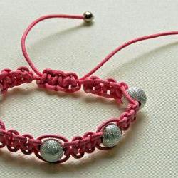 Pink shambala bracelet with silver stardust beads, suitable for children, ideal for flower girls and bridesmaids